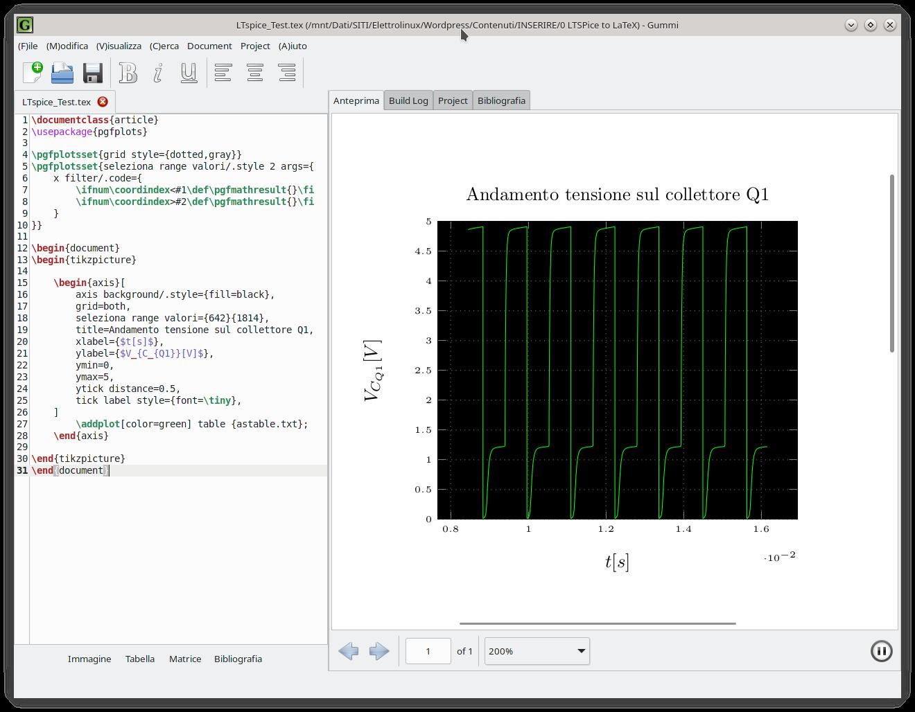 Simulazioni LTspice convertite in documenti LaTeX